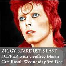 Geoffrey Marsh (curator at the V&A museum)on Ziggy Stardust - The Last Supper - at Cafe Royal, Wednesday 3rd December 2014, London. Seminar, lecture, talk, salon on David Bowie